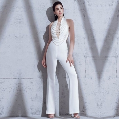 Adyce 2019 New Summer Women Jumpsuit Elegant Beads Sexy Backless Halter Chain White Celebrity Night Club Party Jumpsuits Rompers