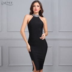 Adyce New Women Bandage Dress Luxury Celebrity Evening Party Dresses Sleeveless Split Halter Diamonds Black Dress Vestidos