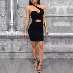 Adyce 2019 Summer New Arrival Bandage Dresses Women Casual Black One Shoulder Hollow Out Celebrity Runway Party Dress Vestidos