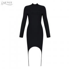 Adyce New Women Summer Bodycon Bandage Dress Black Long Sleeve Midi Dress Vestidos Clubwear Celebrity Evening Party Dresses