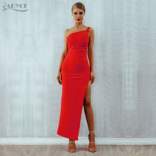 Adyce New Red Bandage Dress Women Sexy One Shoulder Maxi Bodycon Dress Sleeveless Celebrity Party Dress Clubwears  Vestidos