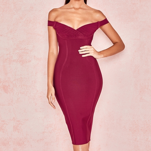 Adyce 2019 New Summer Bodycon Bandage Dress Vestido Sexy Short Sleeve Off Shoulder Midi Club Dress Women Celebrity Party Dresses