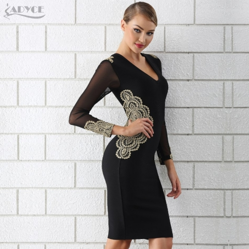 Adyce Sexy 2019 Summer Women Celebrity Evening Party Dress Vestidos Black Long Sleeve Lace Hollow Out V Neck Club Bandage Dress