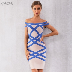 Adyce 2019 New Summer Off Shoulder Women Bandage Dress Vestido Sexy Nude Slash Neck Club Dress Midi Celebrity Party Runway Dress