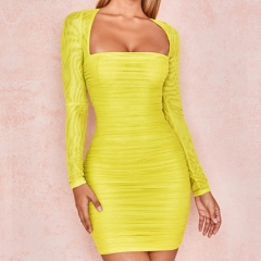 Adyce 2019 New Summer Club Dress Women Celebrity Evening Runway Party Dress Sexy Long Sleeve Yellow Mini Strapless Dress Vestido