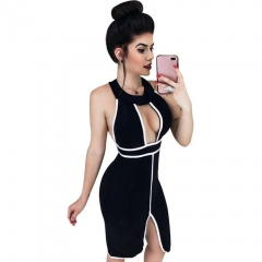 ADYCE 2019 New Summer Women Bandage Dresses Vestidos Sexy Red Halter Backless Hollow Out Bodycon Tank Club Celebrity Party Dress