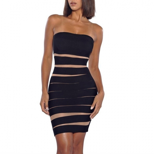 Adyce Bodycon Bandage Dress Women Vestidos Verano 2019 New Summer Strapless Black&Apricot Club Dress Mini Celebrity Party Dress