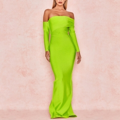 Adyce 2019 New Spring Sexy Women Bandage Dress Long Sleeve Yellow Green Draped Off Shoulder Maxi Celebrity Evening Party Dresses