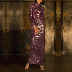 ADYCE Celebrity Evening Party Sequin Dress Women New Winter Sexy O Neck Long Sleeve Violet Maxi Luxury Club Dress Vestidos