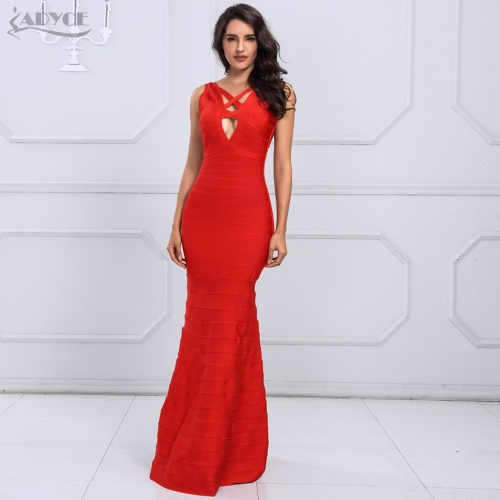 Adyce HOT SALE Sexy Red Black Long Dress Vestidos Clubwear Chic Lace Up Backless Celebrity Party Dresses Women Maxi Dress