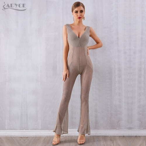 Adyce Celebrity Runway Party Jumpsuits For Women Sexy Deep V Neck Hollow Out Club Rompers Jumpsuit Sexy Bodycon Bodysuit