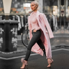 Adyce New Winter Women Slim Trenches Coats Sexy Pink Deep V-Neck Covered Button Warm Coats Zip Long Sleeve Maxi Club Coats