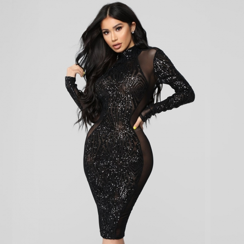 Adyce Sexy Summer Bodycon Bandage Dress Vestidos Verano New Long Sleeve Lace Sequin Club Dress Women Celebrity Party Dress
