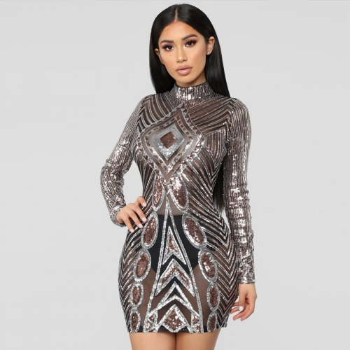 Adyce 2019 New Spring Women Celebrity Evening Party Dress Elegant Sexy Long Sleeve Sequined O Neck Mini Clubwears Dress Vestidos