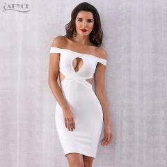 Adyce Summer Women Bandage Dress Vestidos Verano White Slash Neck Hollow Out Elegant Bodycon Dresses Celebrity Party Dress