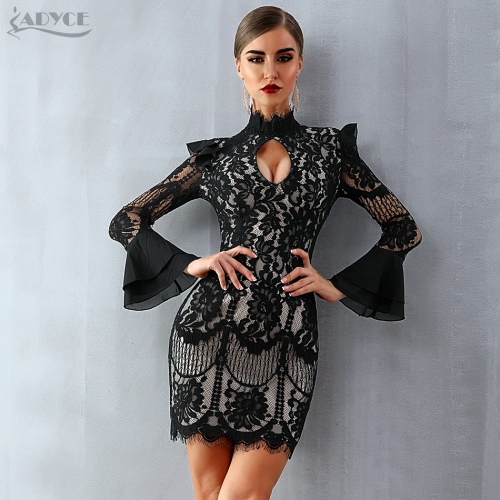 Adyce 2019 New Women Spring Bodycon Bandage Dress Black Long Sleeve Mini Dress Vestidos Clubwear Celebrity Evening Party Dresses