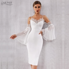 Adyce 2019 New Summer Women Bandage Dress Sexy Flare Sleeve White Lace Midi Dress Vestidos Elegant Celebrity Evening Party Dress