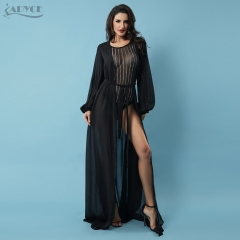 ADYCE Summer New Women Mesh Black Coat Hollow Out Long Sleeve Celebrity Runway Women Coat Outerwear Wholesale Vestido