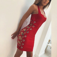 Adyce New Women Summer Bandage Dress Red Halter Hollow Out Mini Dress Sleeveless Sexy Evening Party Club Dress Vestidos