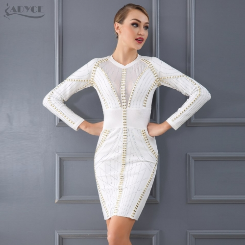 Adyce High Quality Winter White Black Beadings Bandage Dress Vestidos Sexy Long Sleeve Bodycon Dresses Evening Party Dress
