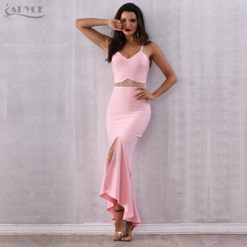 Adyce 2019 Summer Bandage Dress Women Pink Spaghetti Strap Mermaid Vestido V-Neck Maxi Celebrity Evening Party Dresses Clubwears