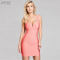 Adyce New Women Summer Bandage Dresses V-Neck Mini Dresses Tank Sleeveless Back Zipper Sexy Evening Party Vestidos De Festa