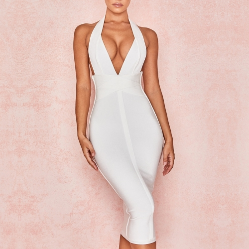 ADYCE 2019 New Summer Women Bodycon Bandage Dress Sexy Halter V Neck Backless Club Dress Celebrity Evening Party Dress