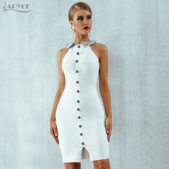 Adyce 2019 New Summer Women Bandage Dress Vestidos Sexy White Sleeveless Tank Bodycon Club Dress Celebrity Evening Party Dresses