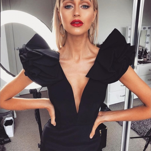 Adyce 2019 New Arrive Summer Women Celebrity Party Dress Vestido Sexy Black Ruffles Butterfly Sleeve Deep V Bodycon Club Dresses