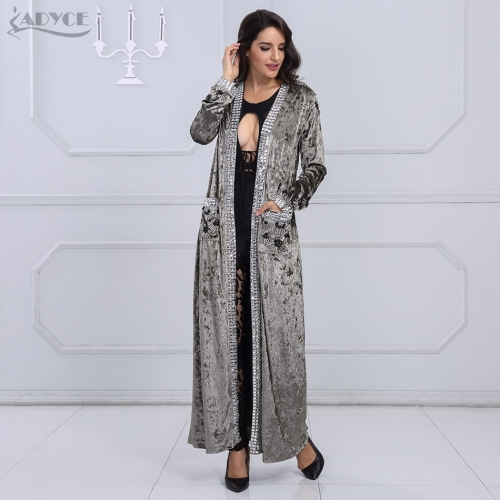 Adyce 2019 New Long Fashion Coat Women Gray Brown Long Sleeve Beading Club Coat Women Long Duster Celebrity Evening Party Coat