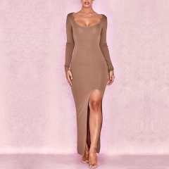 Adyce 2019 New Summer Women Bandage Dress Sexy Brown Long Maxi Split Club Dress Vestidos Elegant O Neck Celebrity Party Dresses