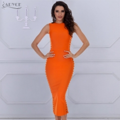 ADYCE New Summer Elegant Bandage Dress Women Sexy Celebrity Party Dress Bodycon Runway Dress O-Neck Hollow Out Club Vestido