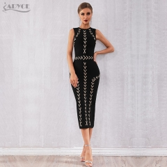 Adyce 2019 New Summer Women Bodycon Bandage Dress Vestidos Sexy Black Lace Up Sleeveless Tank Club Luxury Evening Party Dresses