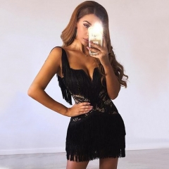 Adyce Sexy Women Bandage Dresses Summer Vestidos Verano 2019 Bodycon Lace Tassels Fringe Clubwear Celebrity Evening Party Dress