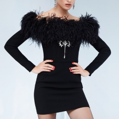 Adyce 2019 New Summer Women Bandage Dress Vestidos Sexy Black Feathers Diamond Off Shoulder Bodycon Club Celebrity Party Dress