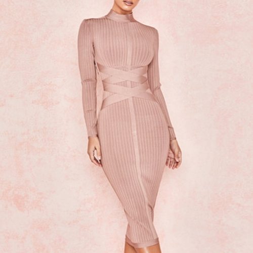 Adyce 2019 New Spring Bodycon Bandage Dress Women Sexy Nude Long Sleeve Midi Club Dress Vestidos Celebrity Evening Party Dresses