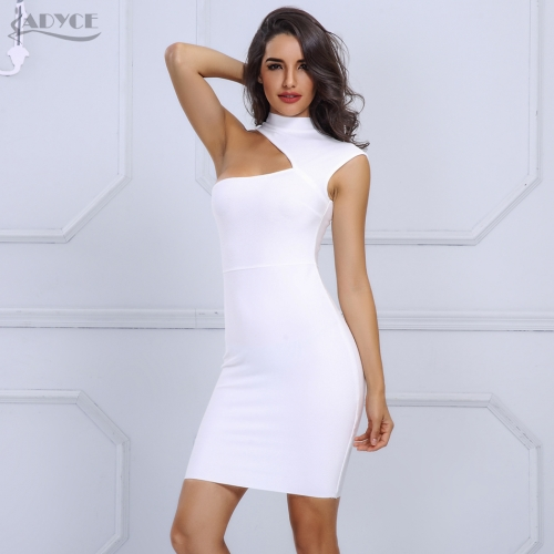 Adyce New Fashion White Woman Bandage Dresses Sexy One Shoulder Cut Out Mini Bodycon Dress Summer Runway Dresses Vestidos