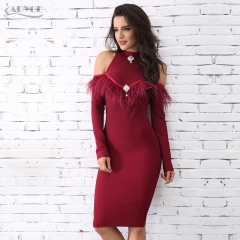 Adyce New Arrival Wine Red Feather Embellished Bandage Dress Sexy Long Sleeve Celebrity Evening Party Dress Vestidos