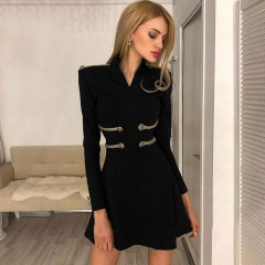 Adyce 2019 New Summer Bandage Dress Women Sexy Long Sleeve Black O Neck Mini Club Dress Vestidos Elegant Celebrity Party Dress