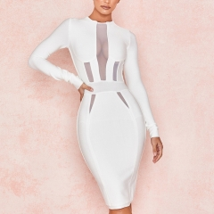 Adyce 2019 New Spring White Bandage Dress Women Vestidos Sexy Long Sleeve Midi Club Dress Elegant Celebrity Evening Party Dress