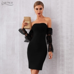Adyce 2019 New Summer Women Bandage Dress Runway Celebrity Party Dress Vestido Sexy Black Slash Neck Long Sleeve Lace Club Dress
