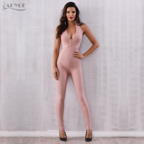 Adyce Celebrity Runway Jumpsuit Women Pink Deep V-Neck Sleeveless Halter Rompers Jumpsuit Sexy Bodycon Long Party Bodysuit