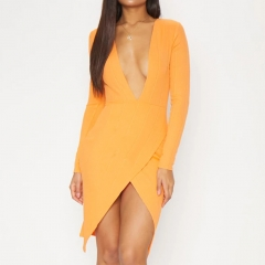 ADYCE 2019 New Summer Women Bandage Dress Vestidos Sexy Long Sleeve Orange Deep V Bodycon Club Dress Midi Celebrity Party Dress
