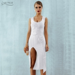ADYCE New Summer Women Bodycon Bandage Dress Vestidos Verano Sexy White Sleeveless Clubwears Celebrity Evening Party Dress