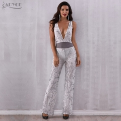Adyce New Woman Club Jumpsuits Sexy Deep V Neck Bodysuit Sequines Patchwork Mesh Sleeveless Celebrity Party Long Jumpsuit