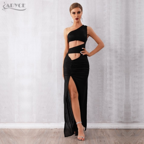 Adyce 2019 New Summer Women Celebrity Evening Party Dress Vestidos Sexy Black Hollow Out One Shoulder Sleeveless Maxi Club Dress