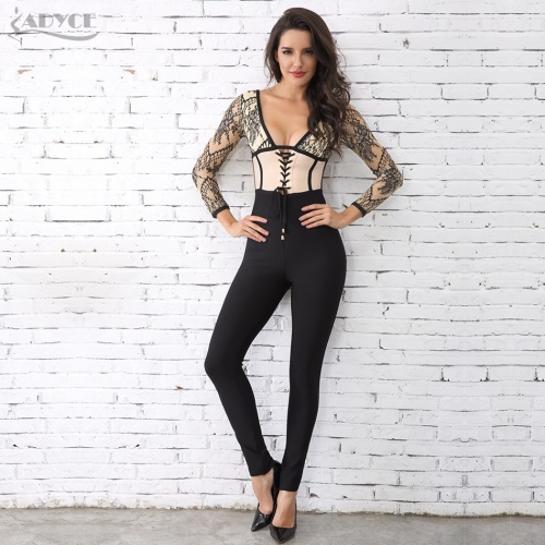 Adyce New Arrival Autumn Jumpsuits Women Sexy Deep V Neck Bodysuit Lace Patchwork Long Sleeve Celebrity Party Long Jumpsuit