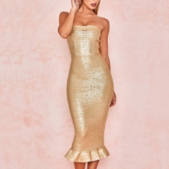 Adyce New Summer Women Bandage Dress Vestido Sexy Gold Sleeveless Strapless Club Dress Elegant Celebrity Runway Party Dress