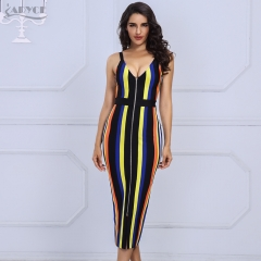 Adyce New Arrival Women Bandage Dress Summer Spaghetti Strap V-Neck Candy Color Striped Dress Celebrity Evening Party Dress