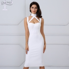 2019 New Bandage Dress Women Black Bodycon Party Dress Hollow Out Backless Straps Knee Length Celebrity Runway Dress Wholesale